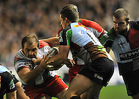 Heineken Cup. Arnaud Heguy of Biarritz Olympique tackled by Tom Williams of Harlequins during the Heineken Cup Pool 3 match between Harlequins and Biarritz Olympique at Twickenham Stoop on October 13, 2012 in London, England.