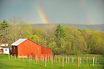 Rainbow in Spring with farm. Bastress Township.