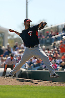March 8, 2010:  Pitcher Nick Blackburn of the Minnesota Twins during a Spring Training game at Ed Smith Stadium in Sarasota, FL.  Photo By Mike Janes/Four Seam Images