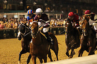 LOUISVILLE, KY - JUNE 17: First time by the finish; Gun Runner (#3 Florent Geroux) wins the 36th running of the G1 Stephen Foster Handicap at Churchill Downs, Louisville, KY. Owner Winchell Thoroughbreds LLC (Ron Winchell) and Three Chimneys Farm (Zuleika B. Torrealba), trainer Steven M. Asmussen. By Candy Ride x Quiet Giant (Giant's Causeway.)  (Photo by Mary M. Meek/Eclipse Sportswire/Getty Images)