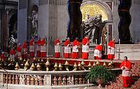 Cardinali sfilano davanti al crocifisso durante la celebrazione della Passione del Signore presieduta dal Papa nella Basilica di San Pietro, Citta' del Vaticano, 3 aprile 2015.<br /> Cardinals kneel in front of the crucifix during the Lord's Passion celebrated by the Pope in St. Peter's Basilica at the Vatican, 3 April 2015.<br /> UPDATE IMAGES PRESS/Isabella Bonotto<br /> <br /> STRICTLY ONLY FOR EDITORIAL USE