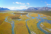 An aerial view of the  Sheenjek River, which flows south from Alaska's Brooks Range into the Yukon River Flats, in the Arctic National Wildlife Refuge in late August.