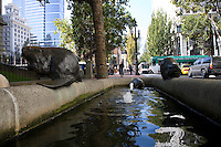"05 October 2009 - Portland, Oregon - A fountain with bronze beavers, part of the ""Animals In Pools Fountains"" series by Georgia Gerber.  Photo Credit: Elizabeth A. Miller/Sipa Press"