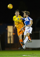 Luke O'Nien of Wycombe Wanderers & Stuart Sinclair of Bristol Rovers go up for the ball during the Sky Bet League 2 rearranged match between Bristol Rovers and Wycombe Wanderers at the Memorial Stadium, Bristol, England on 1 December 2015. Photo by Andy Rowland.