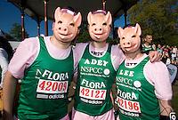 26 APR 2009 - LONDON,GBR - Marcus Haddrell, Adrian Cross and Lee Brown - London Marathon. (PHOTO (C) NIGEL FARROW)
