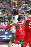 06.09.2014. Barcelona, Spain. 2014 FIBA Basketball World Cup, round of 16. Picture show J. Harden and G. Ayon   in action during game between  Mexico v Usa  at Palau St. Jordi