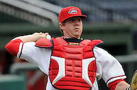 May 8, 2008: Catcher Ty Weeden (14) of the Greenville Drive, Class A affiliate of the Boston Red Sox, prior to a game at Fluor Field at the West End in Greenville, S.C. Photo by:  Tom Priddy/Four Seam Images