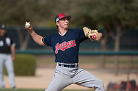 Cleveland Indians relief pitcher James Karinchak (56) during a Minor League Spring Training game against the Chicago White Sox at Camelback Ranch on March 16, 2018 in Glendale, Arizona. (Zachary Lucy/Four Seam Images)