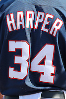 Washington Nationals outfielder Bryce Harper #34 back of his jersey during an Instructional League game against the national team from Italy at Carl Barger Training Complex on September 28, 2011 in Viera, Florida.  (Mike Janes/Four Seam Images)