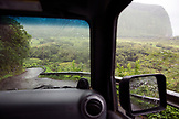 USA, Hawaii, The Big Island, driving down the steep grade road to the Waipio Valley floor