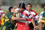 F. Leau is tackled by J. Smith. Counties Manukau Premier McNamara Cup rugby game between Pukekohe & Karaka played at Colin Lawrie Fields Pukekohe on July 14th, 2007. Pukekohe won 31 - 29.
