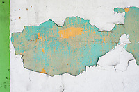 Malaysia, Penang, Georgetown..The aging, crumbling old heritage houses in George town showing a lot of interesting abstract patterns on the walls and floors. ..Photo Kees Metselaar
