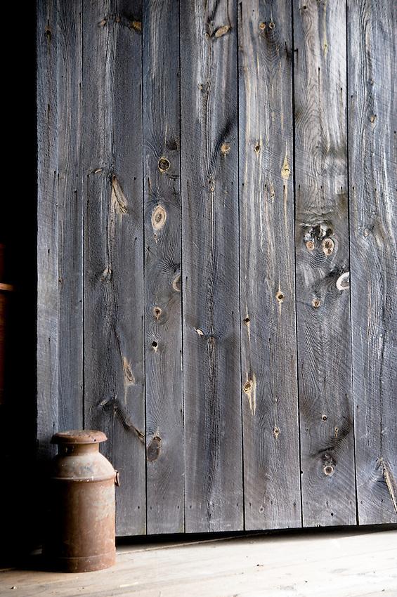 Wood door in barn at Hancock Shaker Village in Massachussetts.