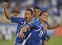 Rodolfo Zelaya Garcia (11) of El Salvador celebrates his score with William Romero.  Trinidad & Tobago tied El Salvador 1-1 in the first round of the Concacaf Gold Cup, at Red Bull Arena, Monday July 8 , 2013.