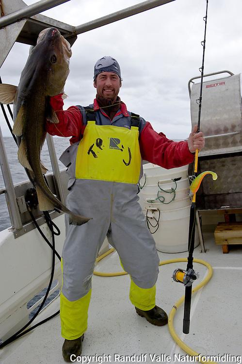 Mann med stor torsk tatt under havfiske. ---- Man with large cod.