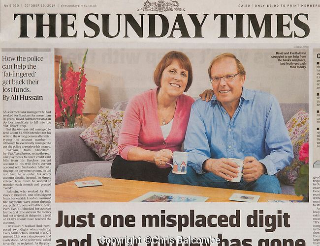 SUNDAY TIMES commissioned shoot<br /> The chosen image as it appeared in the Sunday Times.<br /> Pictured are David and his wife Eve, at their home in Lancing, Sussex.<br /> <br /> Pic: Chris Balcombe<br /> <br /> 07568 098176