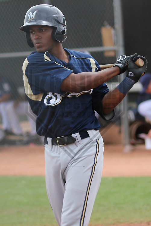 PEORIA - March 2013: Adrian Williams  of the Milwaukee Brewers during a Spring Training game against the San Diego Padres on March 20, 2013 at Peoria Sports Complex in Peoria, Arizona.  (Photo by Brad Krause). .