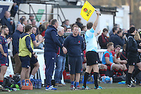 Peter Richarrds (Head Coach) of London Scottish (centre) looks on during the Greene King IPA Championship match between London Scottish Football Club and Jersey at Richmond Athletic Ground, Richmond, United Kingdom on 18 February 2017. Photo by David Horn / PRiME Media Images.