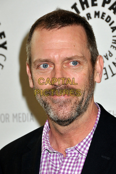 "HUGH LAURIE.The Paley Center Presents The Creative Process: Inside ""House"" held at The Paley Center for Media, Beverly Hills, CA, USA..June 17th, 2009.headshot portrait beard stubble facial hair black purple pink gingham .CAP/ADM/BP.©Byron Purvis/AdMedia/Capital Pictures."