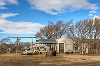 Old gas station in the Ghost Town of Glenrio Texas on Route 66.