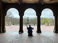New York, New York City. A musican plays to a nearly empty Central Park.