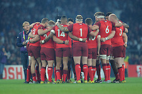 18 September 2015: England in a team huddle before kick off during Match 1 of the Rugby World Cup 2015 between England and Fiji, Twickenham Stadium, London, England (Photo by Rob Munro/CSM)
