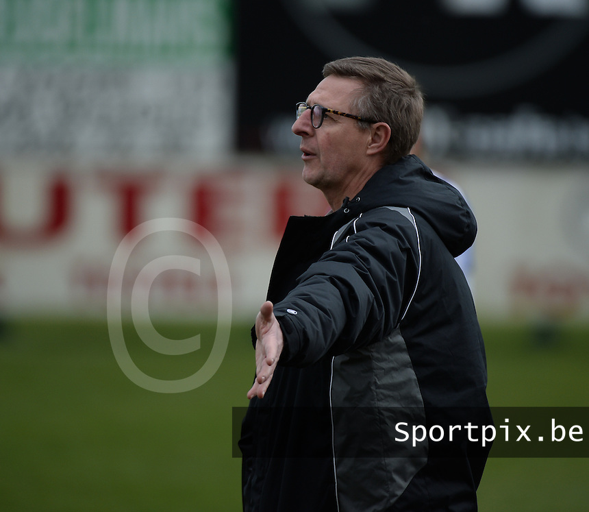 20140315 - WESTERLO , BELGIUM : Lierse coach Alex Dierckx pictured during the soccer match between the women teams of SK Lierse Dames  and SC Heerenveen Vrouwen , on the 19th matchday of the BeNeleague competition Saturday 15 March 2014 in Westerlo . PHOTO DAVID CATRY
