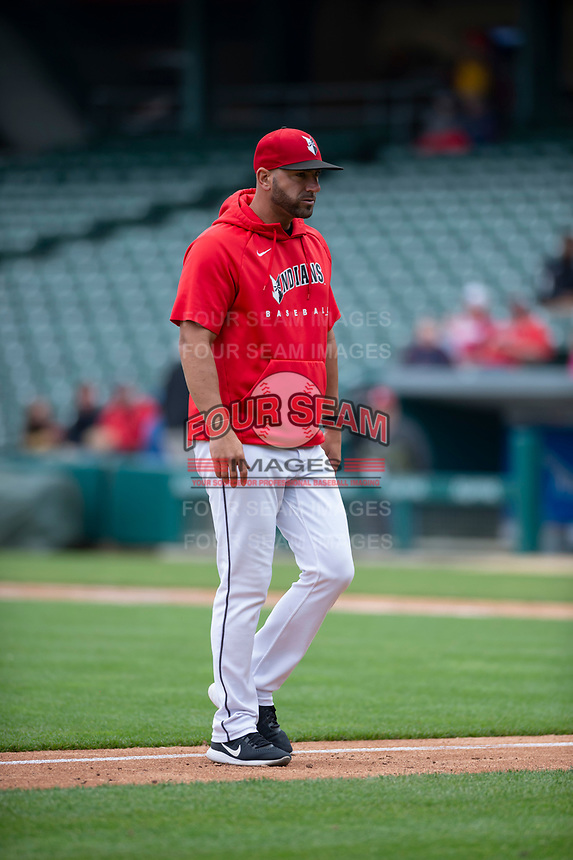 Indianapolis Indians manager Brian Esposito (5) during an International League game against the Columbus Clippers on April 30, 2019 at Victory Field in Indianapolis, Indiana. Columbus defeated Indianapolis 7-6. (Zachary Lucy/Four Seam Images)