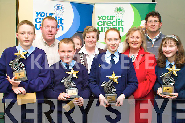 Winners of the U13 section of the Credit Union Chapter 23 Quiz held in the ITT North Campus on Sunday afternoon representing Ardfert NS were l/r Fion Ennis Kavanagh, Michael Ryan, Claire Crowley and Grace Egan with teachers Toma?s Hanafin, Betty Stack and Billy O'Connor along with Vice Chair of Chapter 23 Mary O'Shea................................................................................................................................................. ............