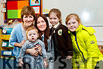 Debra Leen with Harry, Tracey and Molly Lacey pictured with Lilly Lacey enjoying her first day of school at Gaelscoil Mhic Easmainn, Tralee.