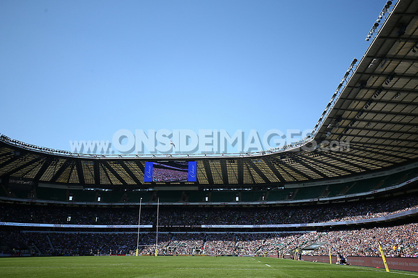 A general view of Twickenham Stadium during the match. The Clash, Aviva Premiership match, between Bath Rugby and Leicester Tigers on April 8, 2017 at Twickenham Stadium in London, England. Photo by: Rogan Thomson / JMP for Onside Images