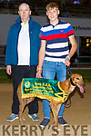 Clonbrien Hero winners of the Kerry Supporters sponsored race at the Night of Champions in the Kingdom Greyhound Track on Friday night. Tommy Dowling and Jim Murphy.