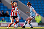 Veatriki Sarri of Sheffield United and Emily Syme of Aston Villa during the The FA Women's Championship match at the Proact Stadium, Chesterfield. Picture date: 12th January 2020. Picture credit should read: James Wilson/Sportimage