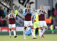 Burnley's Matthew Lowton applauds the fans at the final whistle<br /> <br /> Photographer Rich Linley/CameraSport<br /> <br /> The Premier League - Burnley v Huddersfield Town - Saturday 6th October 2018 - Turf Moor - Burnley<br /> <br /> World Copyright &copy; 2018 CameraSport. All rights reserved. 43 Linden Ave. Countesthorpe. Leicester. England. LE8 5PG - Tel: +44 (0) 116 277 4147 - admin@camerasport.com - www.camerasport.com