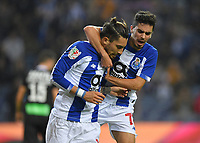 12th February 2019; Dragao Stadium, Porto, Portugal; League Cup 2019/2020, FC Porto versus Academico de Viseu; Alex Telles of FC Porto celebrates his goal with Vitinha from a penalty kick in the 19th minute 1-0