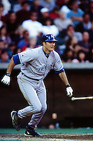 Mike Sweeney of the Kansas City Royals during a game against the Anaheim Angels at Angel Stadium circa 1999 in Anaheim, California. (Larry Goren/Four Seam Images)