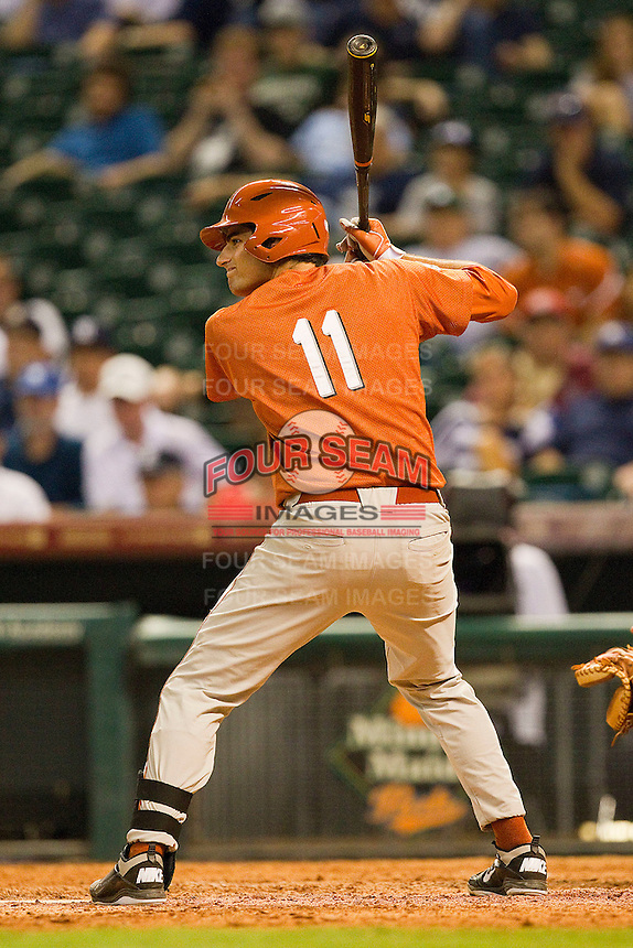 Alex Silver #11 of the Texas Longhorns at bat against the Rice Owls at Minute Maid Park on March 2, 2012 in Houston, Texas.  The Longhorns defeated the Owls 11-8.  (Brian Westerholt/Four Seam Images)