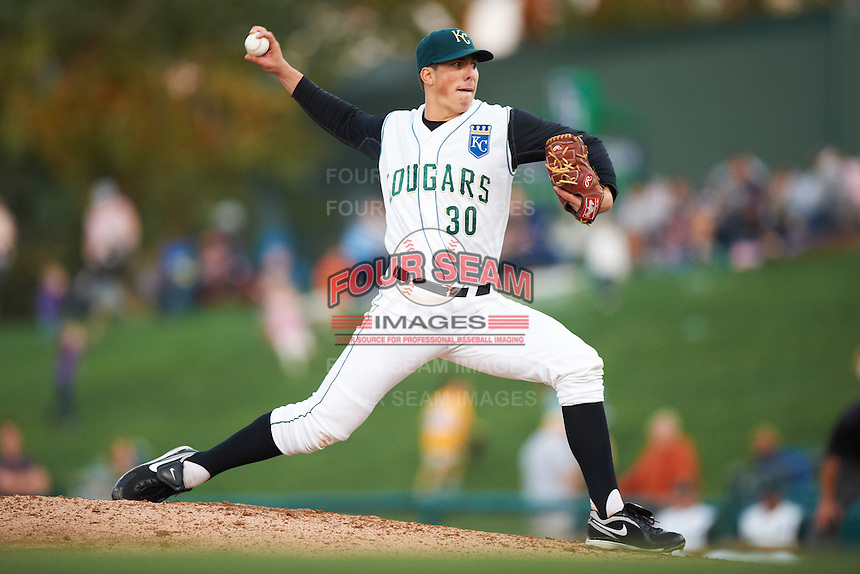 Kane County Cougars starting pitcher Kyle Zimmer #30 during a Midwest League game against the Clinton LumberKings at Coveleski Stadium on August 16, 2012 in South Bend, Indiana.  Kane County defeated Clinton 5-3.  (Mike Janes/Four Seam Images)