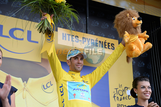 Race leader Vincenzo Nibali (ITA) Astana wins his 4th stage solo on the slopes of Hautacam at the end of Stage 18 of the 2014 Tour de France running 145.5km from Pau to Hautacam. 24th July 2014.<br /> Photo ASO/X.Bourgois/www.newsfile.ie
