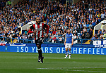 Leon Clarke of Sheffield Utd celebrates his first goal during the Championship match at the Hillsborough Stadium, Sheffield. Picture date 24th September 2017. Picture credit should read: Simon Bellis/Sportimage