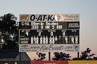 Batavia Muckdogs scoreboard after pitchers Gabriel Castellanos, Brett Lilek and Steven Farnworth (L-R) combined for the first perfect game in team history against the Mahoning Valley Scrappers on June 24, 2015 at Dwyer Stadium in Batavia, New York.  Batavia defeated Mahoning Valley 1-0.  (Mike Janes/Four Seam Images)