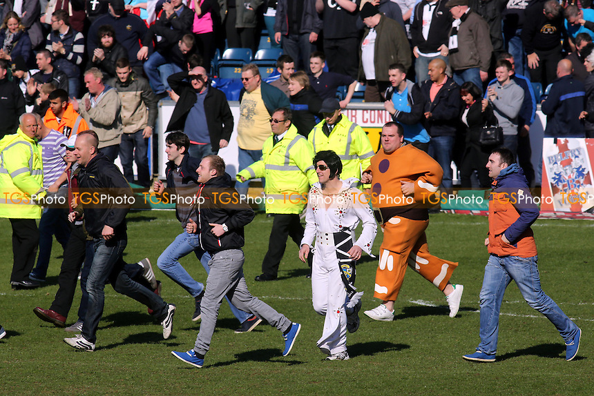 Elvis joined the Port Vale fans on the pitch to celebrate their promotion - Wycombe Wanderers vs Port Vale - NPower League Two Football at Adams Park, High Wycombe - 27/04/13 - MANDATORY CREDIT: Paul Dennis/TGSPHOTO - Self billing applies where appropriate - 0845 094 6026 - contact@tgsphoto.co.uk - NO UNPAID USE.