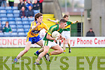 Clare's James Wood tries to stop Kerry's Jack Savage at Austin Stack park, Tralee on Saturday.
