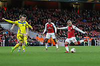 Jack Wilshere of Arsenal (right) scores during the UEFA Europa League match between Arsenal and FC BATE Borisov  at the Emirates Stadium, London, England on 7 December 2017. Photo by David Horn.