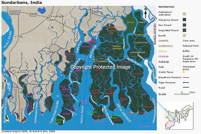 Map of Sunderban, West Bengal, India