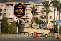 A army tank is parked in the residential area of Rehab in the suburbs of Cairo, after the revolution that saw president Hosni Mubarak ousted from office.