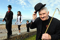 22-8-2013: Mick O'Dwyer was a proper Charlie in his native Waterville, County Kerry for the opening day of the Charlie Chaplin Festival where is pictured with Jack Cross (2),  Fiona O'Sullivan and 'Charlie The 2nd'.<br /> Picture by Don MacMonagle