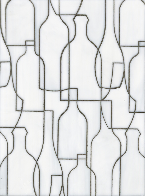 Bottles, a glass waterjet mosaic shown in Moonstone, is part of the Erin Adams Collection for New Ravenna.