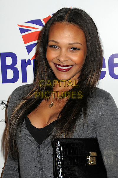 Samantha Mumba.BritWeek 2012 Official Launch held at a Private Residence, Los Angeles, California, USA..April 24th, 2012.headshot portrait red lipstick cleavage black grey gray smiling  .CAP/ADM/BP.©Byron Purvis/AdMedia/Capital Pictures.