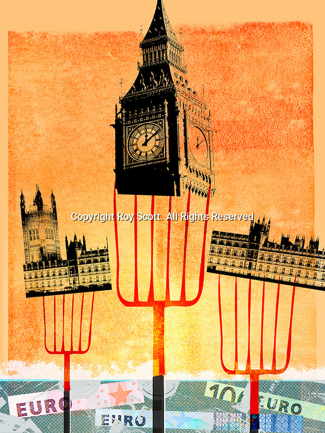 Pitchforks holding Houses of Parliament, London above European Union banknotes